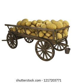 Wooden cart filled with melon harvest