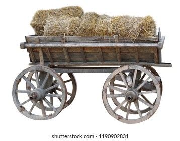 wooden cart with hay on white background