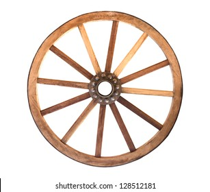 Wooden cartwheel from a wagon on a white background