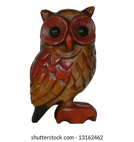 Wooden carved Owl on white background