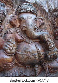 wooden carving of lord ganesha
