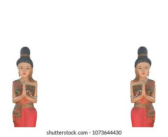 Thai wooden doll images stock photos vectors shutterstock wooden carving representing thai greeting posture hello and welcome on white background m4hsunfo Gallery