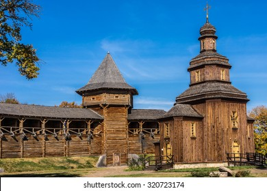 Wooden castle church. In years 1669-1708 Baturin Fortress was residence of three Ukrainian Hetmans: Demian Mnohohrishny, Ivan Samoilovych and Ivan Mazepa. Baturin, Chernihiv province, Ukraine.