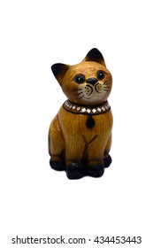 Wooden Cat Doll isolate white background
