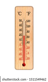 Wooden celsius and fahrenheit scale thermometer for measuring air temperature. Thermometer isolated on white background. Air temperature plus 20 degrees celsius