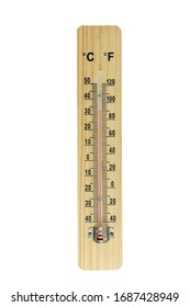 Wooden celsius and fahrenheit scale thermometer for measuring air temperature. Thermometer isolated on white background. Air temperature plus 32 degrees celsius.  With clipping path.