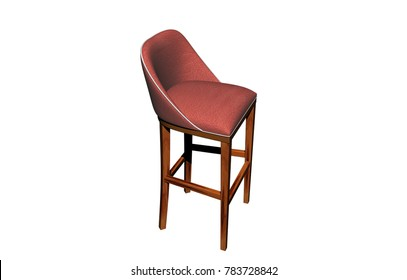 wooden chair 3D rendering