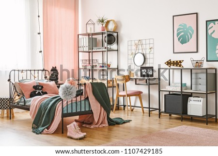 Wooden Chair At Desk With Laptop In Feminine Bedroom Interior With Pink And  Green Bedding