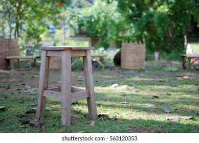 wooden chair in garden
