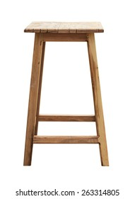 Wooden chair, isolated on white background with Clipping Pat.