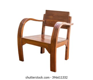 Wooden chair retro style isolate on white background