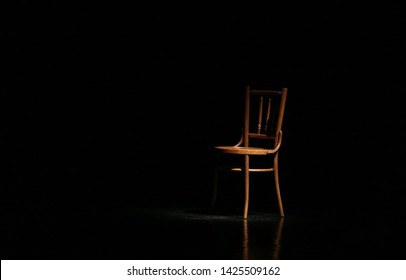 Wooden chair in theater play