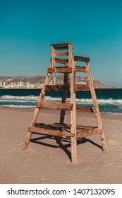 Wooden chair to watch the sea. Baywatch.
