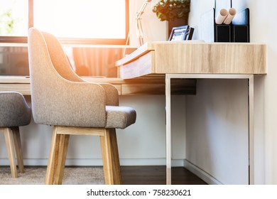 WOODEN CHAIR WITH WORKING TABLE INTERIOR CONCEPT