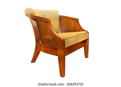 Wooden chairs with cushions on a white background.
