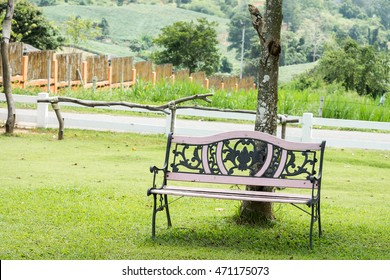 Wooden chairs in the garden.