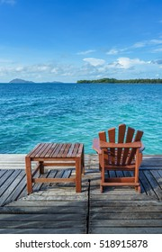 wooden chairs on the wooden platform, Koh Mak, Thailand