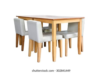 wooden chairs and table isolated on white background