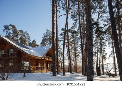 wooden chalet style mansion in mountain forest around pines, blue sky, sunny day, snow covered