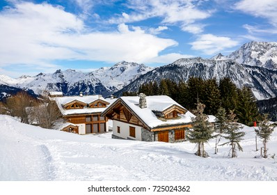 Wooden chalets  in French Alps.