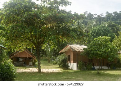 Wooden chalets on a tropical island