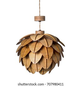 Wooden chandelier made of light wood, in the form of a cone, with an electric cord