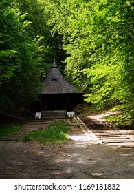 Wooden Chapel of St. Roch situated in picturesque beech forest in Krasnobrod, Roztocze, Poland