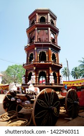 Wooden chariots with flags and paintings of hindu gods in Gokarna, Karnataka, India