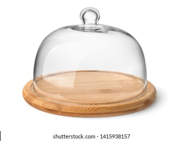 Wooden cheese board and glass dome isolated on white