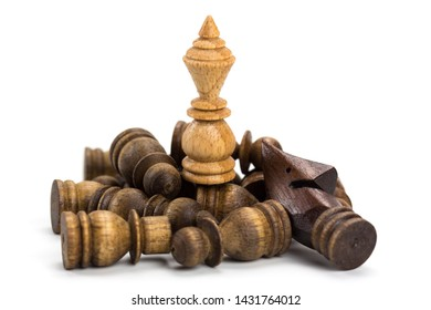 Wooden chess board game concept for competition and strategy, business success concept, White king defeat the enemy isolated on white background