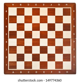 wooden chess board isolated on white background