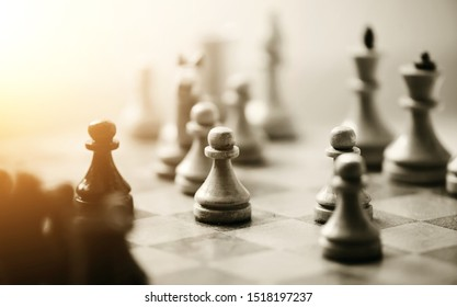 Wooden chess pieces on the chessboard. Intellectual game -chess.