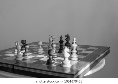Wooden chessboard in the afernoon