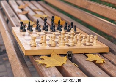 Wooden chessboard with pieces on a bench in the autumn city park. Shallow depth of field. Focus on the white pieces.