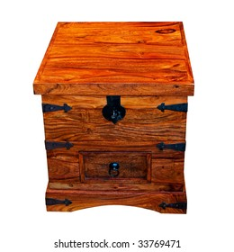 Wooden chest box isolated included clipping path