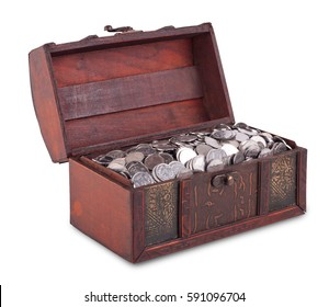 Wooden chest with coins inside isolated, with clipping patch