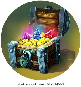 Wooden chest with crystals and gold money. Illustration for design.