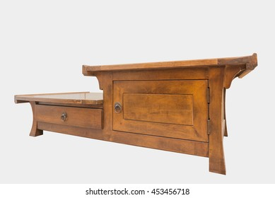 Wooden chest drawer isolated on white background