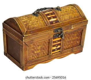 Wooden chest with iron handles on the white background