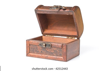 wooden chest isolated on white