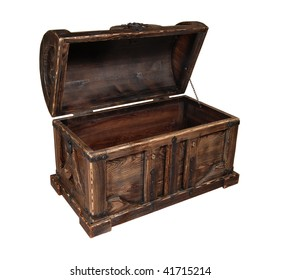 Wooden chest isolated over white background