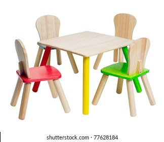 Wooden children dinner table set cute and colorful