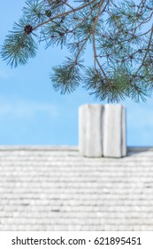 Wooden Chimney at Old Roof and a Pine