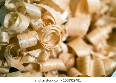 wooden chips, waste of industrial production, background selected focus