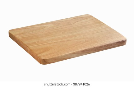 Wooden chopping block for butcher isolated on white background (with clipping path ready to make selection)