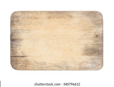 wooden chopping board with scratched surface on isolated background with clipping path (ready for make selection)