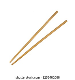 Wooden chopsticks isolated on white background.traditional eating utensils