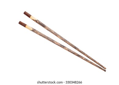 Wooden chopsticks isolated on white background