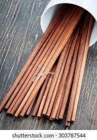 wooden chopsticks on the wooden floor.