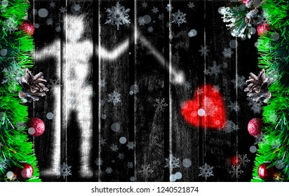 Wooden Christmas background with blurred flag of Blackbeard Pirate. There is a place for your text in the photo.